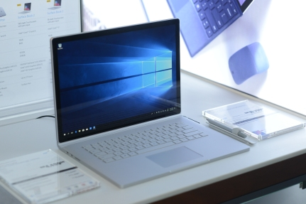 Surface Book 2 displayed at media event